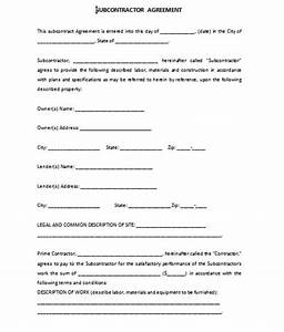 subcontractor agreement template With subcontractor agreements template