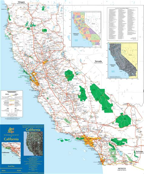 large detailed map  california  cities  towns