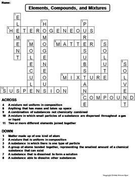 elements compounds and mixtures worksheet crossword