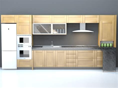 3ds max kitchen design domestic single file kitchen design 3d model 3dsmax 3896