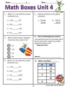 unit  decimals math boxes review  grade  joanne