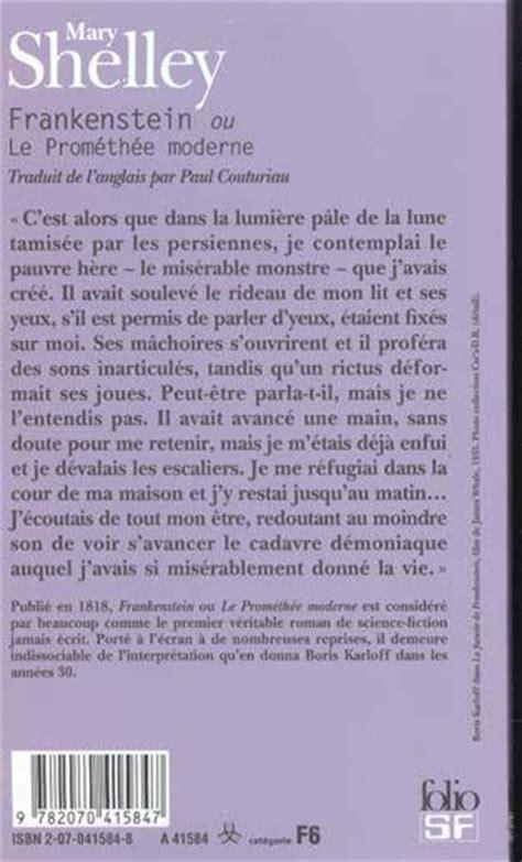 frankenstein ou le promethee moderne resume par chapitre livre frankenstein ou le promethee moderne wollstonecraft shelley shelley