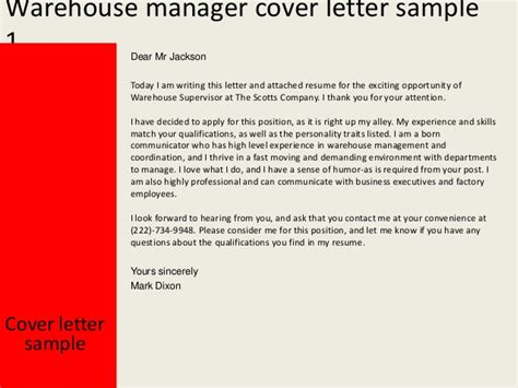 Warehouse Manager Resume Cover Letter by Warehouse Manager Cover Letter