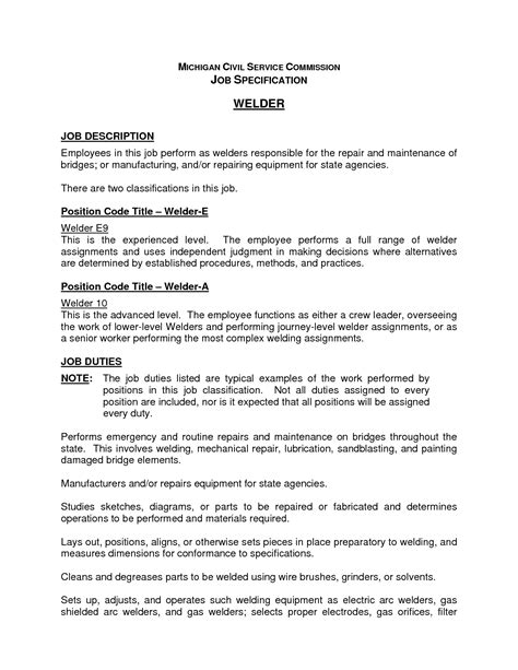 welding foreman description resume tank welder sle resume
