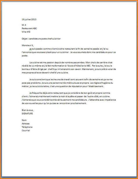 lettre de motivation chef de cuisine 5 exemple lettre de motivation cuisinier format lettre