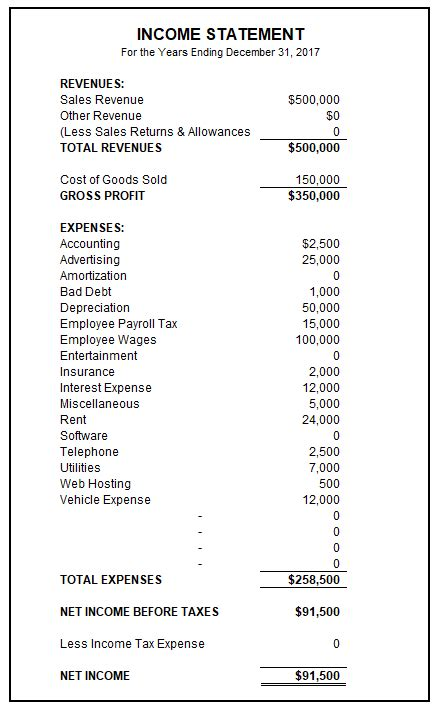 earnings statement template sle income statement free income statement template basic accounting help