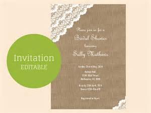 burlap wedding invitations burlap and lace editable invitation magical printable