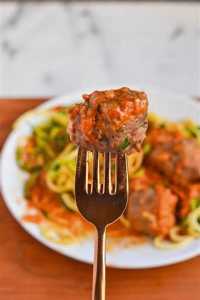 Sauce Meatballs Pepper Turkey Zoodles Roasted Megnut