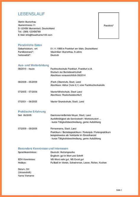 Lebenslauf Mit Foto Muster by 11 Lebenslauf Ohne Foto Communaute Pays Basque