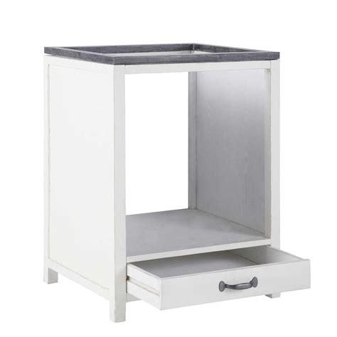 meuble four cuisine meuble bas de cuisine pour four en bois recyclé blanc l 64