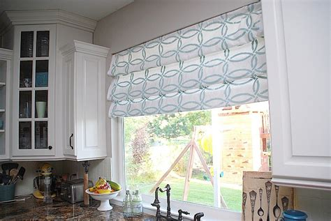 Curtain Shades by Stenciled Faux Shades Tutorial Kitchen Sneak