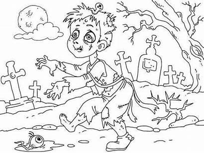 Creepy Coloring Halloween Drawings Designlooter Zombie Lots