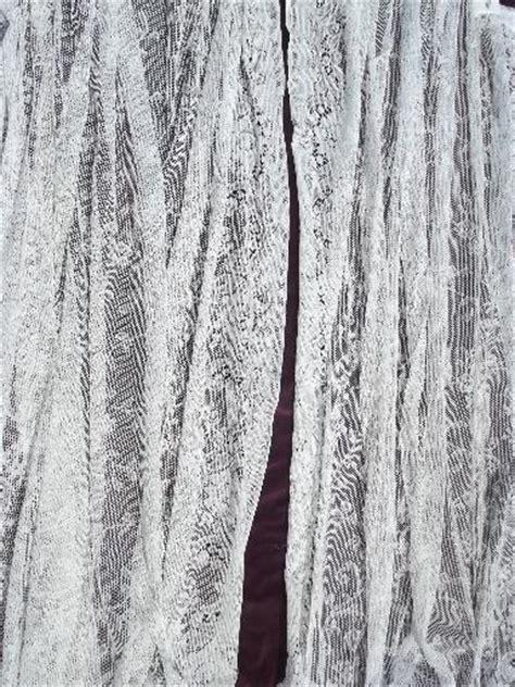 vintage white cotton lace curtains pair floor length