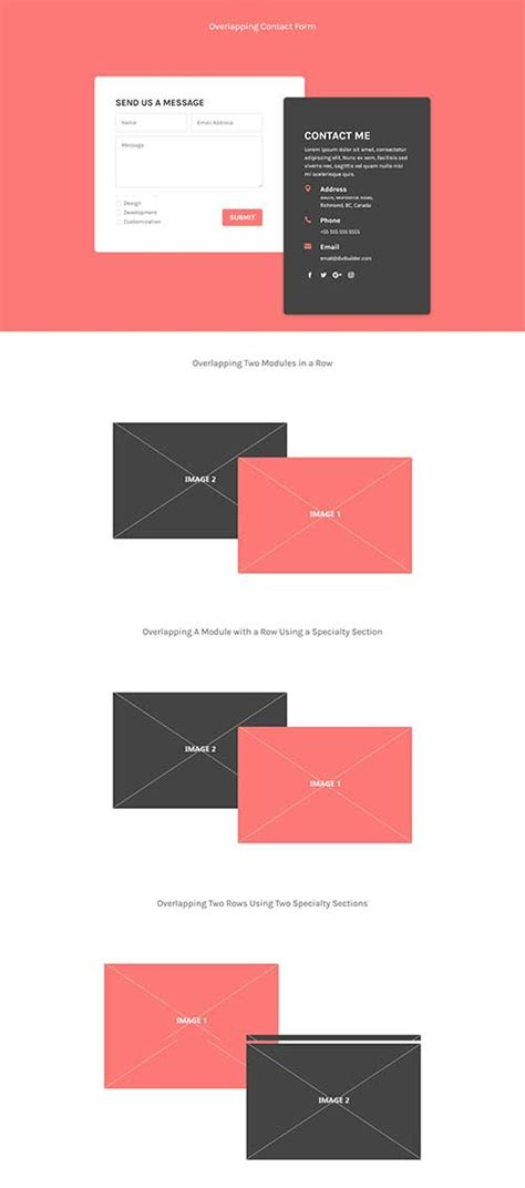 divi contact form free divi layout for overlapping contact form and images