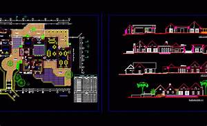 Tourist Area Management With Pool And Restaurant 2d Dwg