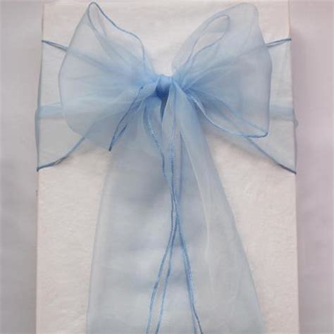 100 light blue organza chair sashes baby blue periwinkle