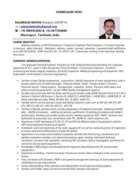 Cv Resume Checklist by Ealumalai Muthu Cv For Api 510 Inspector Or Plant