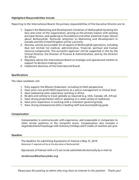 bethany executive director position description