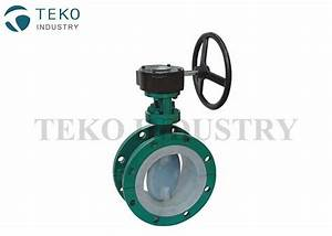 Pure Virgin Ptfe Lined Valves   Gear Operation Flanged End