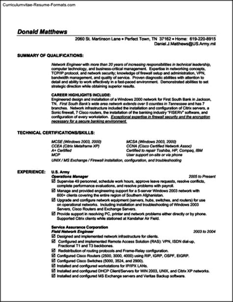 Technical Resume Templates by Technical Resume Templates Free Sles Exles