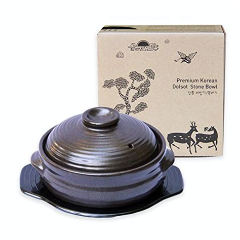 korean stone cookware cooking pot bowl amazon ceramic crazy bibimbap dolsot asian soup premium korea lid south sizzling food medium