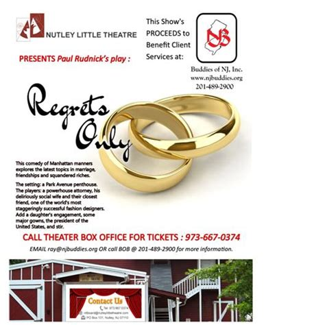 regrets only nutley little theater play to benefit client services at buddies of nj buddies nj