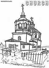 Church Coloring Pages Orthodox Building Print Colorings sketch template