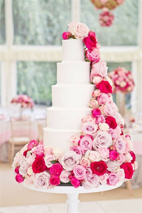 Beautiful White Cake With Pink Flowers Photography