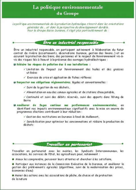bureau politique exemple charte politique environnementale formation à la