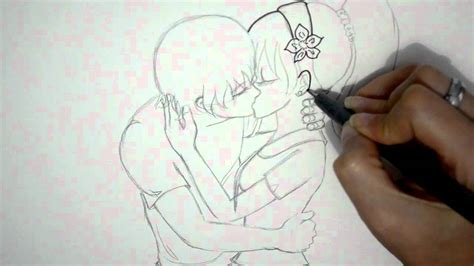 como dibujar una pareja anime besandose dibujo de amor youtube