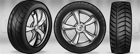 How To Draw Tires, Step By Step, Cars, Draw Cars Online
