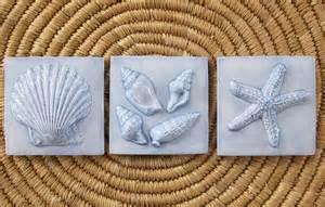 handmade ceramic tile 3x3 seashore set of 3 in country