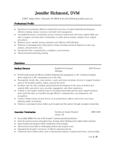 Resume Format For Veterinarians by Veterinarian Resume Haadyaooverbayresort