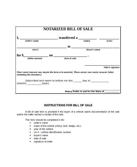 sample blank bill  sale  examples   word