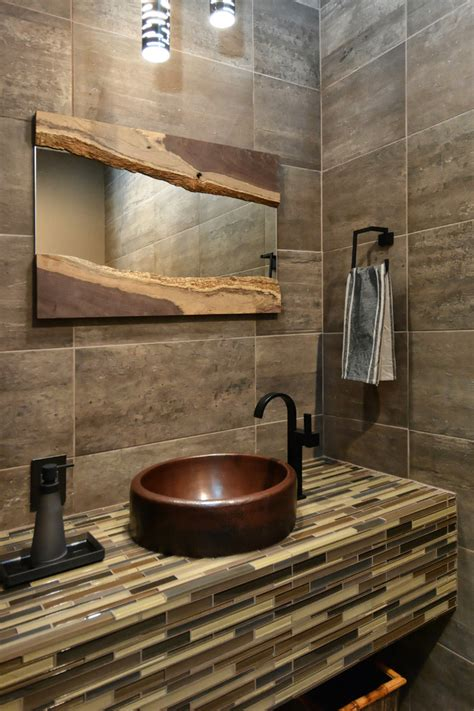 farmhouse powder room cool bathroom mirrors powder room contemporary with brown