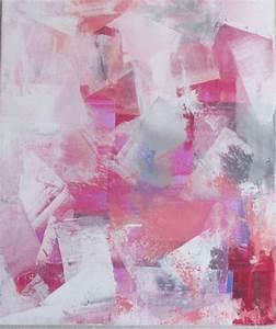 Tableau Rose Et Gris : peinture moderne acrylique et mati re blanc rose rouge gris sur ch ssis toile coton 55 x 46 ~ Teatrodelosmanantiales.com Idées de Décoration