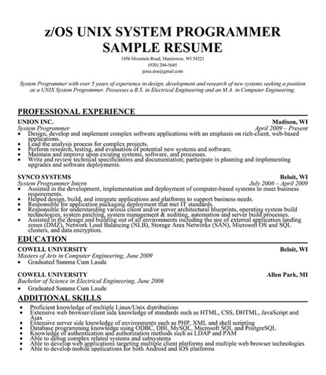 system knowledge resume ideas best software engineer