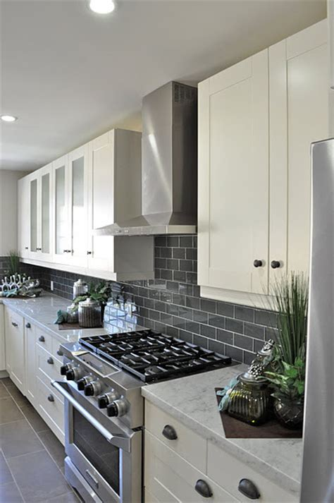 gray subway tile backsplash   kitchen white