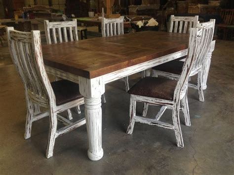 6' Rustic Diningkitchen Table And 6 Tooled Leather Chairs