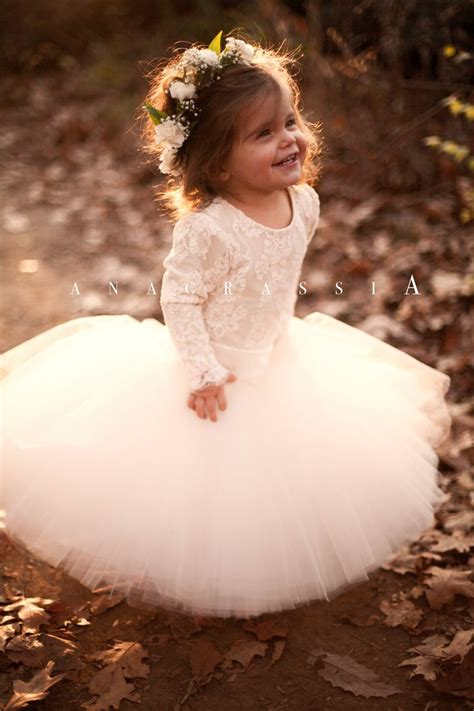 anagrassia fall wedding flower girl dresses blush ivory
