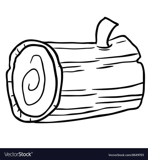 black  white wood log cartoon royalty  vector image