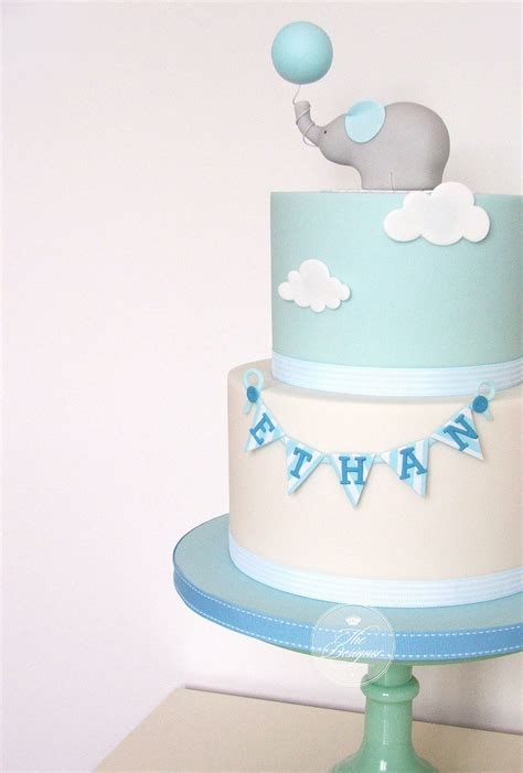 elephant christening cake   party party baby boy