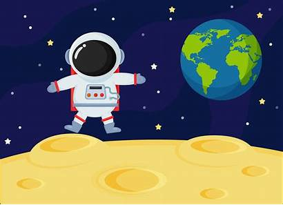Cartoon Space Moon Surface Earth Explore Astronauts