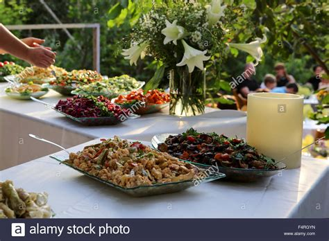 Outdoor Salad Bar On A Buffet Table Stock Photo Royalty