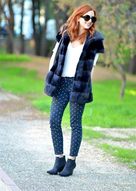 faux fur vest  polka dot leggings short boots