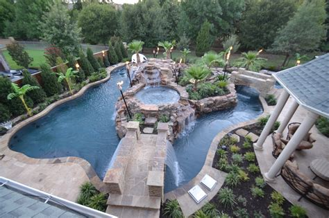Top View Large Backyard Lazy River Pool Design With Small
