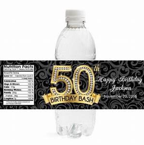 adult birthday water bottle labels diamond 50th birthday With 50th anniversary water bottle labels
