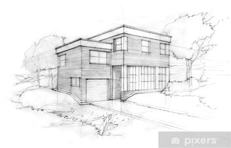 sketch   modern cubic house  idea   architect