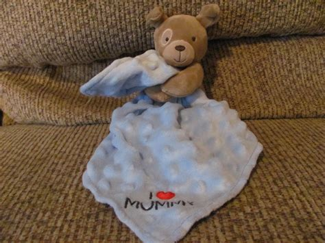 Carters Child Of Mine I Love Mommy Puppy Dog Rattles Blue Minky Security Blanket Lovey Plush 7