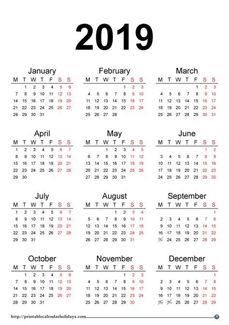 yearly calendar printable printable